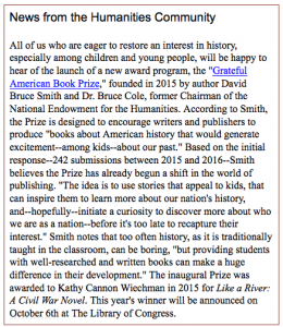 Federation of State Humanities Councils Cites Grateful American Book Prize