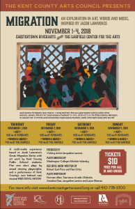 The Kent County Arts Council presents:  MIGRATION: An Exploration in Art, Words and Music, Inspired by Jacob Lawrence